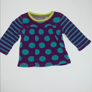 Girl's Purple top with blue dots, 18 months